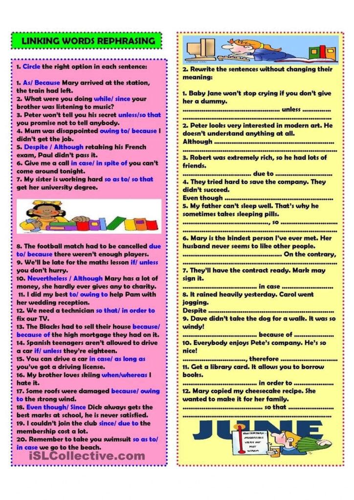 Bài tập áp dụng Linking Words - Từ Nối IELTS
