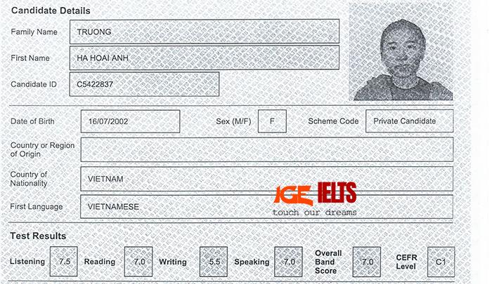 kết quả thi của bạn Trương Hà Hoài Anh lớp IGE IELTS Target 6.5