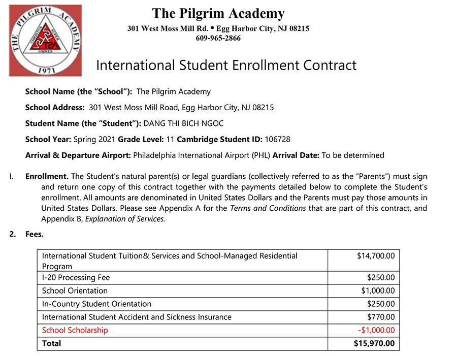 học bổng The Pilgrim Academy - Bích Ngọc